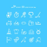 Set of White Icons Sport Equipment Royalty Free Stock Image