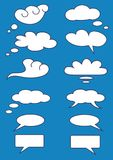 Set of white idea clouds on blue sky background,dialog box, chat bubbles, vector Stock Photography