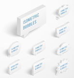 Set of white isometric bubbles with drop shadow Royalty Free Stock Image