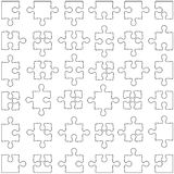 Set of white jigsaw puzzles. illustration Royalty Free Stock Photo