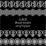 Set of white lace borders on black background Royalty Free Stock Image