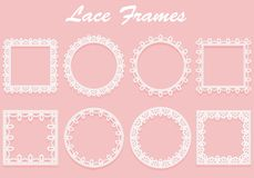 Set of white lace frames of different shapes. Openwork vintage elements isolated on a pink background. Vector illustration Stock Images
