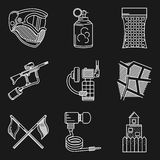 Set of white line icons for paintball Royalty Free Stock Photography