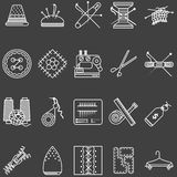 Set of white line icons for sewing Royalty Free Stock Photos