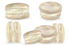 Set vanilla macaroon on white background. 3d realistic almond cookies. Vector illustrations. Set vanilla macaroon on white background. 3d realistic almond vector illustration