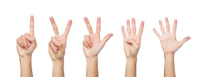 Set of white man`s hands. Male hand show figures, counting. Set of white male hand show figures, count one, two, three, four, five. Isolated ar white background royalty free stock photography