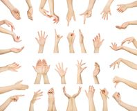 Set of white male hands showing symbols Stock Photography