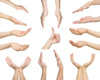 Set of white male hands showing symbols Royalty Free Stock Image