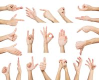 Set of white male hands showing symbols Stock Image