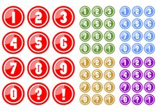 Set of white numbers in circle button includes five color variants, red, green, blue, yellow and purple. Included also button with Royalty Free Stock Photos