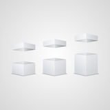 Set of white open cartons. . Stock Photography