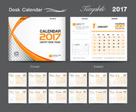 Set white and orange Desk Calendar 2017 template design. Cover Desk Calendar, Calendar 2017, Business flyer design, orange cover template Royalty Free Stock Images