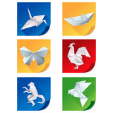 Set of white origami animal icons Royalty Free Stock Images