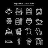 Set of white outline apiary icons Royalty Free Stock Photos