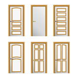 Set of 6 white painted doors Royalty Free Stock Photos