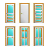 Set of 6 white painted doors Stock Image