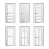 Set of 6 white painted profiled doors Stock Photos