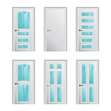 Set of 6 white painted profiled doors Royalty Free Stock Photography