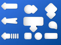 Set of white paper arrows Royalty Free Stock Photo