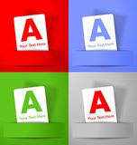 Set of white paper cards on colorful backgrounds Stock Photography