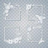 Set of white paper flowers and leaves frames. Set of white paper flowers and leaves, vector floral design elements Stock Illustration