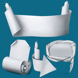 Set of white paper realistic elements. Banner, arrow, pointer and curved blank. Royalty Free Stock Photos