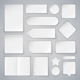 Set of White Paper Sheets Mock Ups and Banners Stock Photos