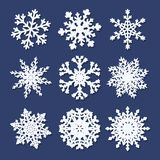 Set of  white paper snowflakes Royalty Free Stock Photo