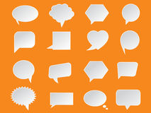 Set of White Paper Speech Bubbles on orange background. Abstract design Royalty Free Stock Photography