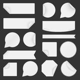 Set of white paper stickers on black background Royalty Free Stock Image