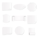 Set of 9 white paper stickers.Vector illustration Stock Photo