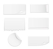 Set of White Paper Stickers Isolated on Background Royalty Free Stock Photography