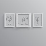Set of white photo frames Royalty Free Stock Image