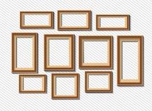 Set of white photo frames on grey background Royalty Free Stock Image