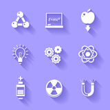 Set of white physics icons. Royalty Free Stock Photography