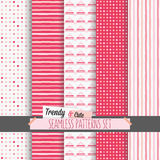 Set of white and pink dotted, stripes and chevron seamless patterns Stock Photos