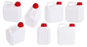 Set of white plastic canisters isolated in different positions royalty free stock photography