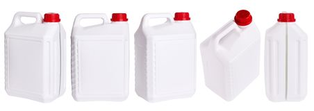 Set of white plastic canisters isolated in different positions stock photography