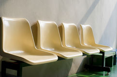 Set of white plastic chairs Royalty Free Stock Photo