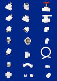 Set of white plastic fittings Stock Photography