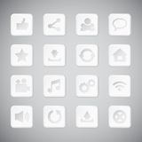 Set of white plastic technology app icons Royalty Free Stock Photo