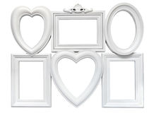 Set of white plastic welded frames for photos royalty free stock photos