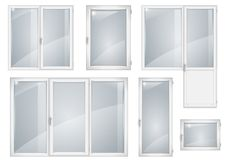 Set of white plastic windows Stock Photography