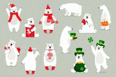 Set of white polar bears, in festive headdresses, accessories. Set of white polar bears, in festival headdresses, accessories, for Christmas holidays vector illustration