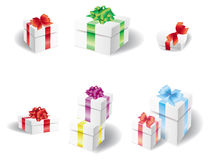 Set of white present box Royalty Free Stock Photos