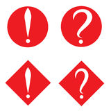 Set of white question and exclamation marks in red circle and square. Vector icon. Flat design style Stock Image