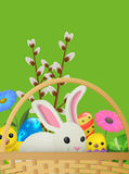 Set of White Rabbit, Yellow Chicken, Willow Branch Royalty Free Stock Images