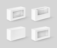Set of White Rectangle Boxes For Food, Gift Stock Photo