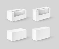 Set of White Rectangle Boxes For Food, Gift Stock Images