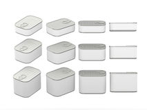 Set of white rectangle  tin cans in various sizes, clipping path. Set of white rectangle  tin cans in various sizes . General can  packaging  with white blank Stock Image
